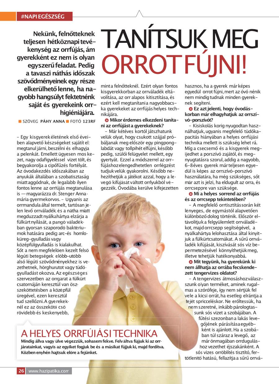 Helyes orrfújás technika bemutatása Házipatikában megjelent cikk